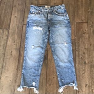 Free people distressed cropped jeans 27